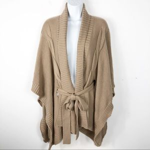 New York & Company Open Belted Poncho Sweater